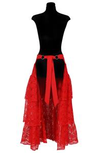 Long pettycoat lace, Red,